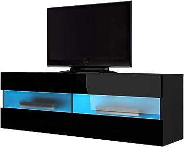 Selsey BRICO - Meuble TV/Meuble de Salon (Noir Mat/Noir Brillant, 100 cm, avec LED Bleu, à Suspendre)
