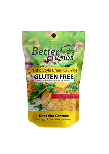 Better Crumbs Panko Bread Crumbs | Crispy Air Baked Gluten free Kosher Certified Panko Style Bread Crumbs Italian Herb Flavor | Resealable Packaging 10oz [Pack of 2]