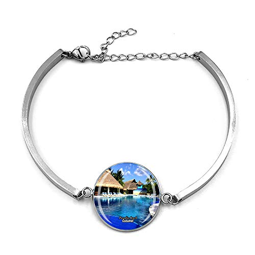 Paradise Beach Cozumel México Pulsera de metal con cadena de cristal, pulsera de acero inoxidable para hombre y mujer