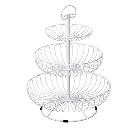 RSWLY Trois Couches de Fruits Multi-Fonctionnelle Fruit Basket Basket avec poignée (Color : White)