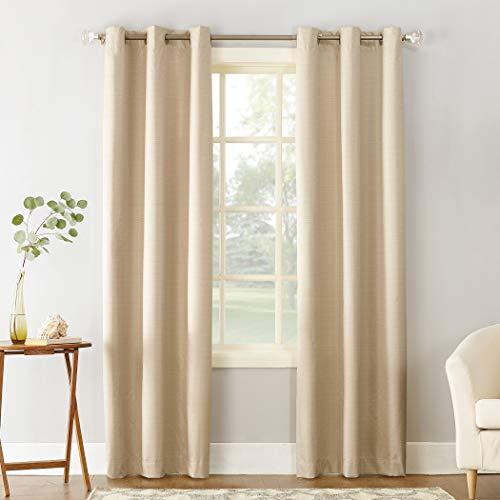 "Sun Zero Cooper Thermal Insulated Room Darkening Grommet Curtain Panel, 40"" x 84"", Linen"