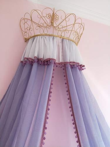 HOMEJYMADE Ciel de lit Couronne Princesse Linge,Tente de Coin de Lecture Dôme moustiquaire pour Les Enfants Perles en Cristal Rideau Gris-Violet-B