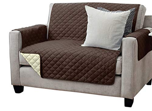 Viva Sesselschoner Sofaschoner Sesselschutz Sofaüberwurf (2-Sitzer 191 x 224 cm, braun/beige)