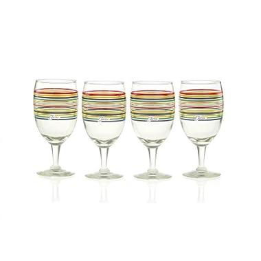 Fiesta Cobalt Stripe 15-Ounce All Purpose Goblet Glass (Set of 4)
