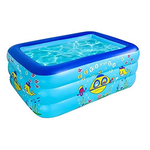 FHCSAO Tragbarer aufblasbarer Pool Kiddie Planschbecken für Baby Kinder Aufblasbare Pool Aufblasbare Badewanne Baby aufblasbare Badewanne,Blue-130x95x55cm