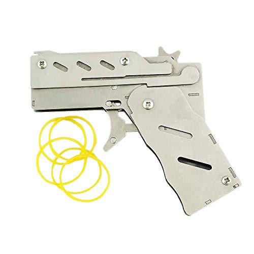 Zhou-long Pistola de goma plegable clásica de acero inoxidable con 6 ráfagas semiautomática, juguete portátil con 100 piezas de banda de goma (plata)