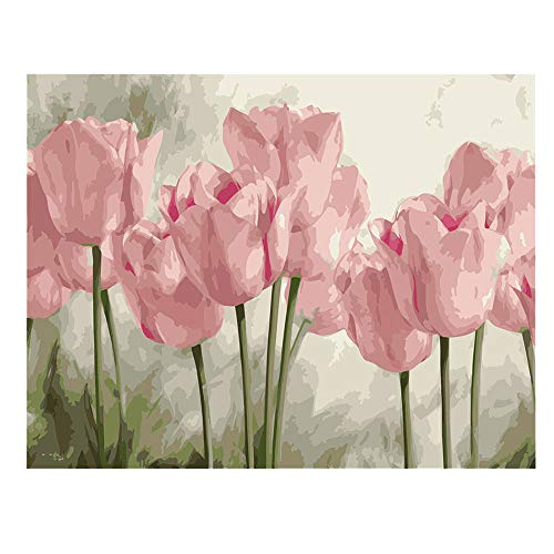 DIY Paint by Numbers for Adults Kids Tulip Paint by Numbers DIY Painting Acrylic Paint by Numbers Painting Kit Home Wall Living Room Bedroom Decoration Pink Tulips
