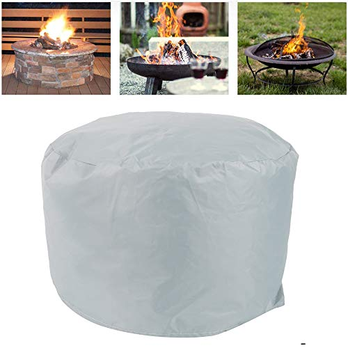 Hands DIY Fire Pit Cover,Round Brazier Cover,Outdoor Garden Patio Protective Cover with Drawstring for Stove (85x40cm, Grey)