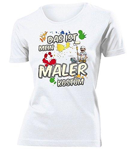 Malerkostüm Maler Kostüm Kleidung 4985 Damen T-Shirt Frauen Karneval Fasching Faschingskostüm Karnevalskostüm Paarkostüm Gruppenkostüm Weiss XL