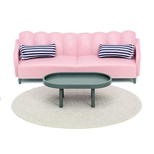 Lundby 60-306500 - Wohnzimmer Möbel Puppenhaus - Möbelset 5-teilig - Puppenhauszubehör - Möbel - Sofa, Couch, Teppich, Sofatisch - Sitzgruppe - Zubehör - ab 3 Jahre - 11 cm Puppen - Minipuppen 1:18