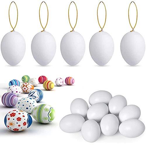 Meowtutu Huevos de Pascua, 24pcs Huevos de Plastico Blancos Decorativos Huevos para Pintar de Pascua para Colgar para Decoración y Regalo Cuerda Decoración de Pascua para Niños DIY