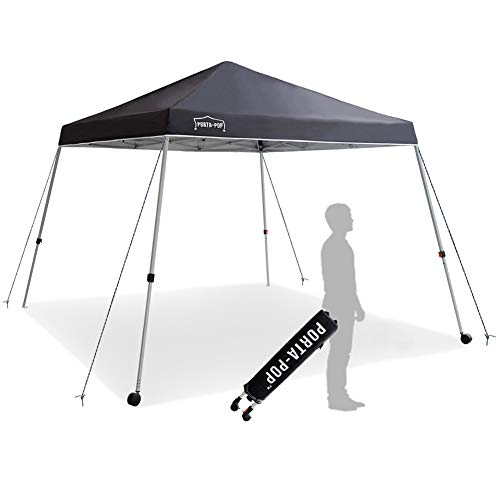 PORTA-POP One Button Easy Pop Up 10x10 ft Portable Folding Canopy Slant Leg with 2 Wheels and Deluxe Carry Bag, Dark Grey