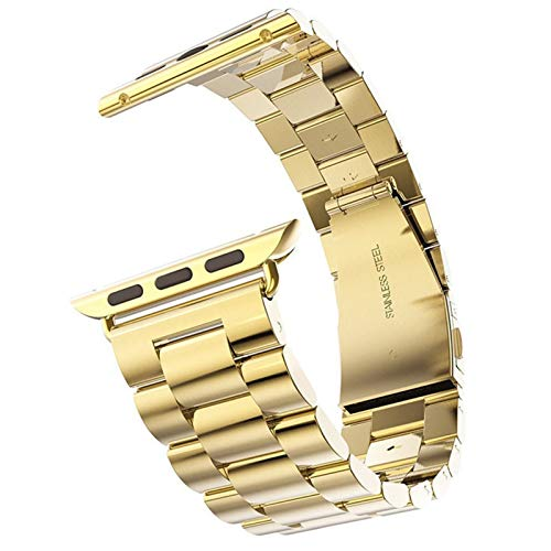 Correa Aplicar a Apple Watch Band 44mm 42mm IWATCH 38mm 40mm Fappy To Apple Watch 5 4 3 Pulsera de Enlace de Acero Inoxidable Brazalete (Band Color : Gold, Band Width : For 42mm)