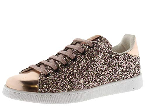 victoria 112558-WOMEN Sneaker Tennis Glitter Flatform Donna Rosa 36