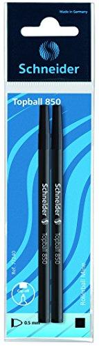 Schneider Schreibgeräte Tintenrollermine Topball 850, Euro-Format, 0,5 mm, schwarz, 2er SB-Beutel