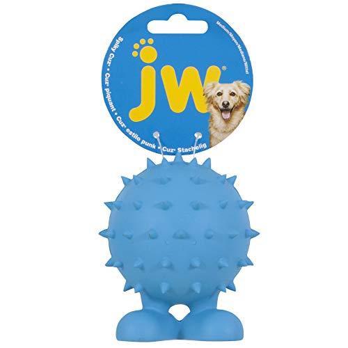 William Hunter JW Pet Spiky Cuz Assistant Toy Tough Squeaker Erratic Bounce Multicolor Medium