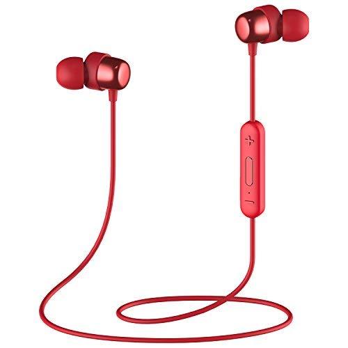 HAVIT Auricular Bluetooth V4.2 IPX5 Deportes magnéticos Cableado Bluetooth In-Ear Móvil 7-10 horas 10M Rango inalámbrico a prueba de agua con Mai y computadora con teléfono (Rojo)