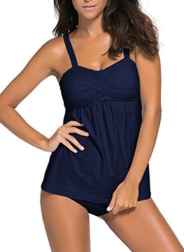 Aleumdr Damen Sportlich Tankini Top Bandeau Bikini Sets Zwei Stück Beachwear Gepolstert Badeanzug Marineblau Größe XL
