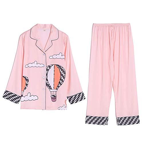 STJDM Bata de Noche,Conjunto de Pijamas de Primavera para Mujer, Estilo de Lujo, Moda, patrón de Globo aerostático, Ropa de Dormir, Seda, como Ocio, Ropa para el hogar, Ropa de Dormir M Lightpink