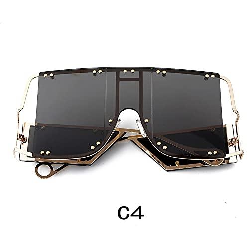 NIUBKLAS Gafas de sol de gran tamaño con remache cuadrado tendencia hombres mujeres Metal marco grande Vintage negro rosa rojo espejo gafas C4