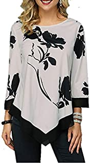Lixada Fashion Women Floral Printed Blouse Plus Size 3/4 Sleeves Irregular Hemline O Neck Spring T-shirts Tees Casual Tops