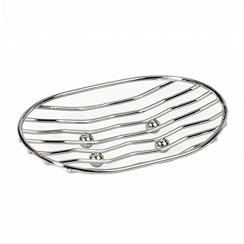 art moon Tatkraft Teslin Seifenhalter Oval für Bud und Dusche, Küchen & Badezimmer Aufbewahrung, Seifenschale Rostfrei, 13 x 4 x 9.5 cm, Verchromt Stahl