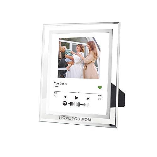 Marco de fotos personalizado de Spotify, marco de fotos de cristal de arte de Spotify, marco de fotos de cristal de código de canción Spotify placa personalizada cubierta del álbum Regalos creativos