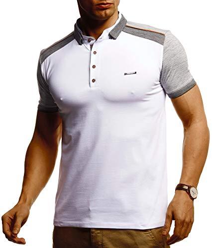 Leif Nelson Herren Sommer T-Shirt Poloshirt Slim Fit Cooles Basic Männer Polo-Shirt Crew Neck Jungen Kurzarmshirt Polo Shirt Sweater Kurzarm LN55190 Weiß X-Large