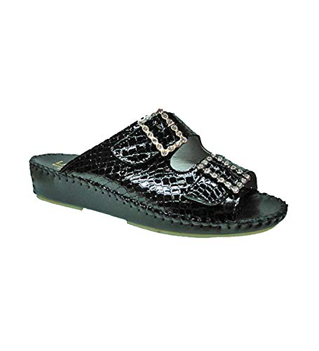 La Plume Women Sandal JEN Rhinestone Soft Foot Bed with Adjustable Strap Comfortable Sole (41, Black Croco Rhinestone)