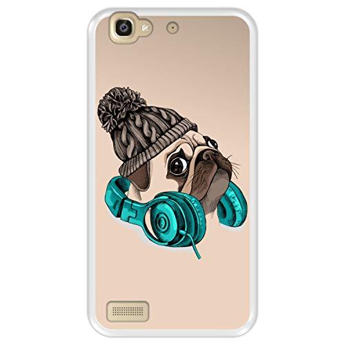 Funda Transparente para [ Huawei P8 Lite Smart - GR3 ] diseño [ Hipster Pug - Music It's my Escape ] Carcasa Silicona Flexible TPU