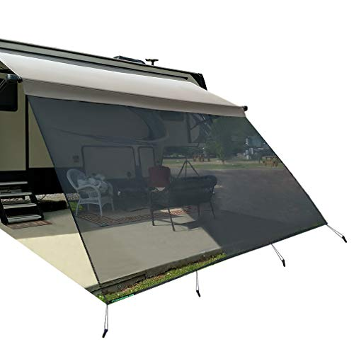 leaveshade RV Awning Sunshade Screen ● Tentproinc 10'X18'3''- Black Mesh Sun Shade ● Block Patio Front Sun Light ● Motorhome Camping Trailer UV Sunblocker ● Canopy Sunscreen-3 Years Lasting