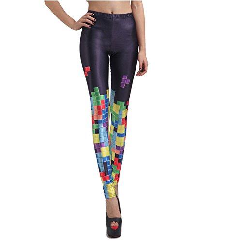 Rubberfashion Leggings Tetris, glänzende Leggin mit Tetris-Motiv bis zur Hüfte für Frauen und Mädchen Menge: 1 Stück standard S/M