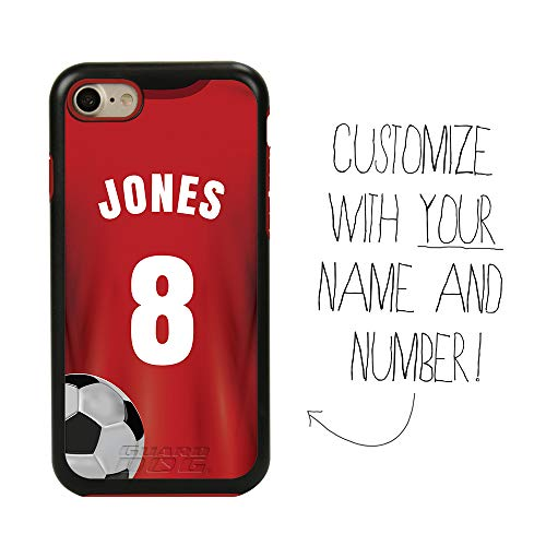 Custom Soccer Jersey Case for iPhone 7/8/SE by Guard Dog - Personalized Sports - Your Name and Number on a Protective Hybrid Phone Case (Black Case, Red Silicone)
