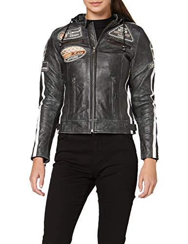 Urban Leather 58 Damen Motorradjacke mit Protektoren, Große Breaker, Größe S