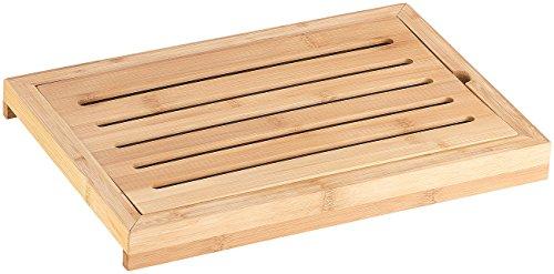Rosenstein & Söhne Brotschneidebrett: Bambus-Schneidebrett mit Krümelrost und Auffangschale (Brotschneidebrett mit Krümelrost)