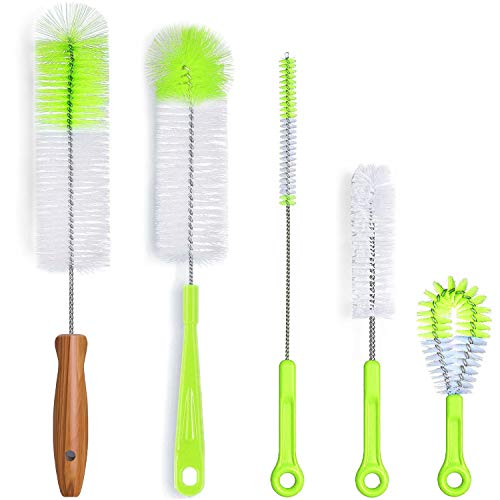 DESIN Bottle Brush Cleaner 5 Pack, Long Water Bottle and Straw Cleaning Brush, Kitchen Wire Scrub Set for Washing Different Diameters and Sizes