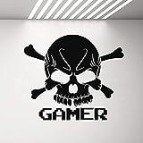 ONETOTOP Gamer Skull Vinilo Adhesivo de Pared Etiqueta Niños Dormitorio Decoración Xbox One PS4 Controlador Pegatinas de Pared Extraíbles 42x36cm