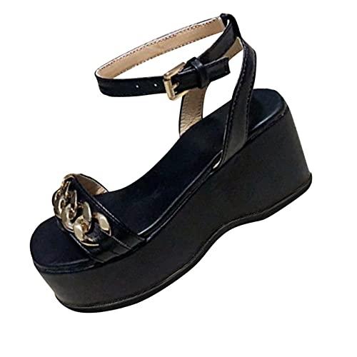 HEling Plateau Sandalias para Mujeres Verano Monótono, Plataforma Casual Zapatos con Cadena...