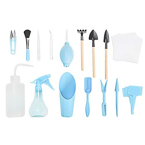 Conjunto de herramientas de jardín, mini conjunto de herramientas de jardín interior, conjunto completo de herramientas, adecuado para plantar en interiores o en macetas, un total de 16 piezas