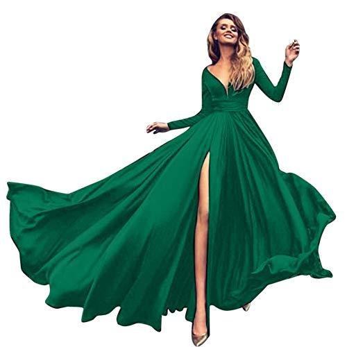 ZhuiKunA Damen Elegant V-Ausschnitt Maxikleid Partykleid Brautjungfer Hochzeit Kleider Cocktailkleid Ballkleid Grün M