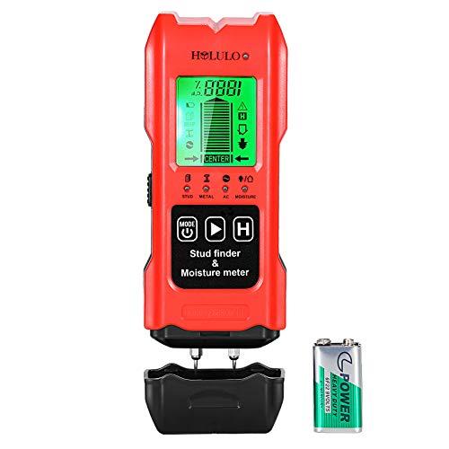 HOLULO 7-in-1 Detector de Pared,Detector Clásico y Multifuncional con Pantalla LCD, Detector Humedad Buscador de Metal, Madera, AC Cable y Humedad,Batería Incluida