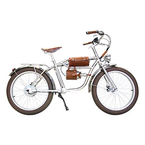 """Skyzzie Bici Elettrica Ibride 500W 48V 24"""" Bici da Città Bicicletta Classica Ebike con Batteria agli Ioni di Litio,Pedal Assist,Senza Catena,Look retrò,Marrone"""