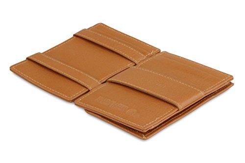 Garzini Magic Wallet, RFID Geldbeutel für Herren aus echtem Leder für 7 Karten und Münzfach, Mini Geldbörse als Geschenk für Männer, Cognac Brown