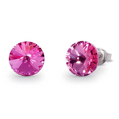 Spark Swarovski Elements Damen Ohrstecker Sterling Silber 925, Swarovski Kristalle rund 8 mm rosa