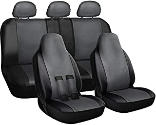 Motorup America Auto Seat Cover Full Set - Fits Select Vehicles Car Truck Van SUV - Gray and Black
