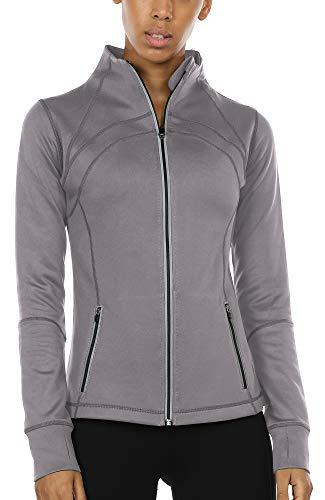 icyzone Sport Jacke Damen Langarm Shirt - Trainingsjacke voll Reißverschluss Laufshirt mit Daumenloch und Seitentasche (Grey, L)