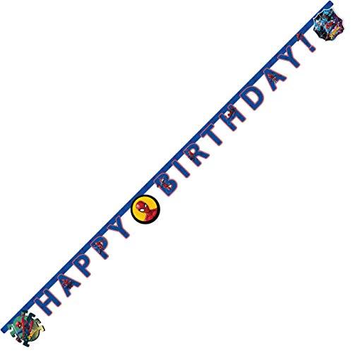 Procos 89454 - Girlande Happy Birthday Spiderman, Größe 200 x 14 cm, Hängedekoration, Kindergeburtstag