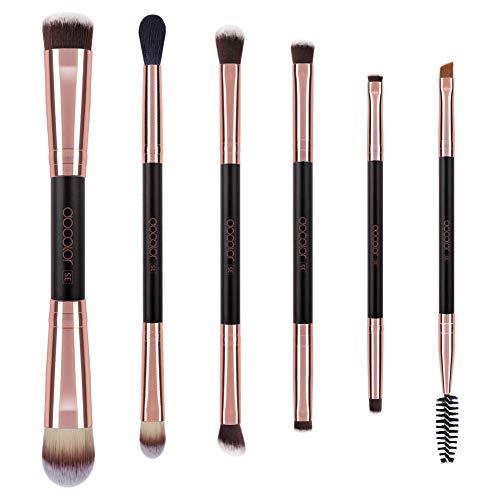 Brochas para Maquillaje de Ojos Docolor - Kit de Brochas para Sombras, 7 Piezas - Lápiz, Sombreado, Cónico, Definidor - Fibras Veganas Sintéticas de Larga Duración