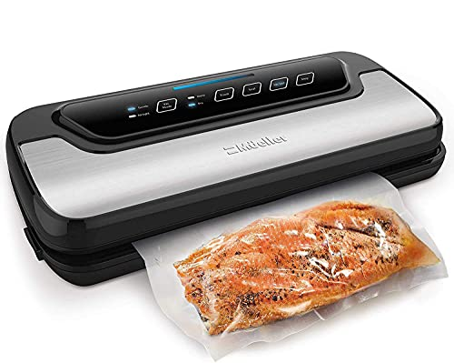 Vacuum Sealer Machine By Mueller | Automatic Vacuum Air Sealing System For Food Preservation & Sous Vide w/Starter Kit | Compact Design | Lab Tested | Dry & Moist Food Modes | Led Indicator Lights