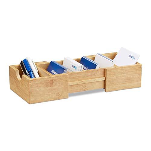 Relaxdays Karteikasten DIN-A8 Bambus, Visitenkarten Organizer, zum Ausziehen, H x B x T: ca. 5,5 x 13 x 30 cm, natur